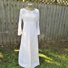 Vintage 1970s White Wedding Dress Bohemian Style Bell Sleeves Condition Issues
