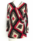 Ralph Lauren Jersey Top Faux Wrap 3 4 Sleeve Native Pattern Size L