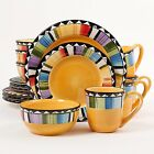 16-Piece Dinnerware Set Yellow Gibson Home Fandango Round 4 Plates Bowls Mugs