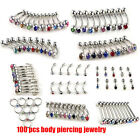 Wholesale 100pcs Lots Body Piercing Jewelry Tongue Eyebrow Lip Belly Navel Ring