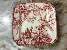 Adelaide Maroon Dessert Plates. Set Of 4. 222 Fifth. Porcelain. Beautiful. New.