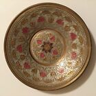 Vintage Solid Brass Plate Painted and Engraved Floral Design