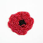 175x2 Red Black Beaded Poppy Flower DIY Crafting Applique Patch Veterans Day