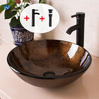 Bathroom Round Glass Vessel Sink W Oil Rubbed Bronze Faucet  Pop up Drain Combo