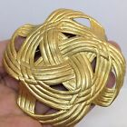 Vintage Estate LARGE KNOT BROOCH Pin Gold Tone Costume Jewelry