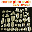 Clear Glass Rhinestone Crystal Sew On Flatback beads oval teardrop rectangle pk