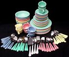 HOMER LAUGHLIN china FIESTA Contemporary 84 Pc Set gray/rose/periwinkle/yellow
