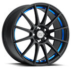 4 NEW Drag Concepts R 16 17x7 5x100 5x1143 +40mm Black Blue Wheels Rims