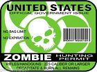 Zombie Hunting Permit United States decal sticker outbreak response team GREEN