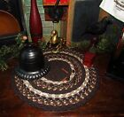 Primitive Vtg Style Country Farmhouse BRAIDED Candle Trivet LARGE ROUND MAT #313