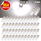 50X Super White 5050 5SMD T10 Wedge LED 192 168 194 2825 W5W Interior Light Bulb