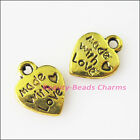 20Pcs Antiqued Gold Tone Made with Love Heart Charms Pendants 95x125mm