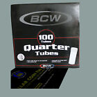 100 BCW Round Quarter Tube 100 Clear Tubes Box 25C Coins Holder