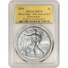 2016 American Silver Eagle PCGS MS70 First Strike Gold Foil Label