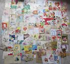 Vintage Lot of Greeting Cards Valentines Birthday Christmas Used Scrapbooking