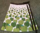 Made With Love By Hannah Modcloth skirt green apple screen print a line wrap M