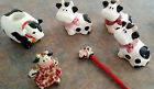 Vintage Salt And Pepper Shaker 3 Candle Holder Mini Cow Doll Cow Pencil