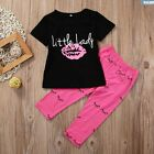 Toddler Kids Baby Girls T shirt Tops+Pants Summer Casual Outfit Clothes 2PCS Set