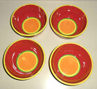 Dansk Caribe Aruba Orange Red Bowls Hand Painted 6 1/8