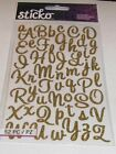 GOLD GLITTER LETTER ALPHABET STICKERS CAPITAL SMALL CURSIVE SCRAPBOOKING CRAFTS