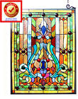 Suncatcher Tiffany Style Victorian Design Stained Glass Window Panel 24inx18in