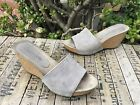 166 Cordani Abby Wedge Gray Suede Slides Women Size 38