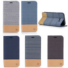 Canvas Holder Flip Soft PU Leather Card Slot Soft Case Cover For Samsung Galaxy