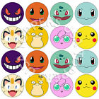 16x EDIBLE Pokemon Faces Birthday Cupcake Toppers Wafer Paper 4cm uncut