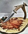 WHITE TAIL DEER ANTLER HUNTING KNIFE LEATHER SHEATH FREE SHIPPING