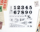 Vintage Numbers and Scissors Clear Stamps 4x4 inch Photopolymer Scrapbooking