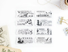 Abstract Floral Vintage Words Clear Stamps 4x4 inch Photopolymer Scrapbooking