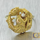 1880s Antique Victorian 18k Solid Yellow Gold .05ct Diamond Dragon Fish Ring