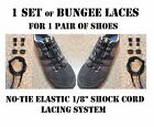 1 SET 2 SHOE BUNGEE ELASTIC SHOCK CORD BOOT LACES STRING 40 EA ADULT BLACK NEW