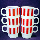 Vintage STACKING Milk WHITE Glass MUG Lot RED STRIPE Coffee Tea CUP Fire King