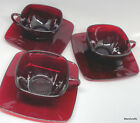 Anchor Hocking Square Cup Saucer Set x 3 Ruby Red Charm 6oz 1950s Glass unused