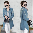 Fashion hole Womens Lady Jeans Jacket Denim Vintage Long Sleeve Long Slim Coat