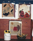 PATTERN Primitive Sunflower Black Crow Pumpkin Wall Quilt Toppers UNCUT OOP
