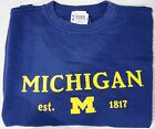 NWT Mens Large Michigan Crew Neck Sweatshirt Color Blue