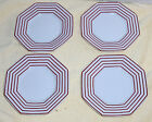 4 Fitz Floyd Pin Stripe Terracotta Octagonal White Red Bread & Butter Plate Dish