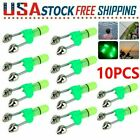 10x LED Night Fishing Bite Bait Alarm Twin 2 Bells Light Rod Tip Clip Alert Ring