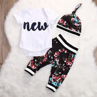 Newborn Toddler Infant Baby Boy Girl T shirt Tops+Floral Pants Outfit+Hat 3Pcs