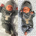 Newborn Baby Girl Boy Clothes Deers Top T shirt +Pants Legging 2pcs Outfits US b