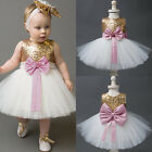 Princess Baby Floral Girls Kid Sequins Party Dress Gown Bridesmaid Dress US b