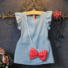 Kids Baby Girl Dress Mouse Bag Demin Party Dresses Casual Clothes US Stock