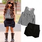 US Stock Toddler Kids Girl Sleeveless Tops Shorts Pants Summer Outfits Clothes