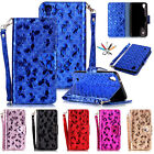 Glittery Leather Butterfly Card Wallet Strap Stand Case Cover For LG X Power K10