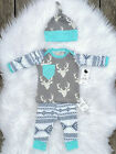 New Kids Baby Girl Boy Clothes Deer Tops T shirt Pants 3pcs Outfits Set US Stock