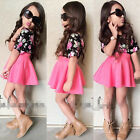 New 2pcs Kids Baby Girl Clothes Floral T shirt Tops +Skirts Outfits Set US Stock