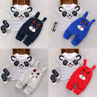 US 2PCS Toddler Baby Boy Girls T shirt Tops+Pants Overalls Outfits Clothes Set