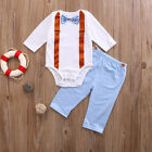 2PCS Newborn Infant Baby Boy Clothes Long Sleeve Romper Pants Cotton Outfits Set